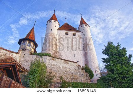 View Of Thun Castle Near Stone Steps In Switzerland