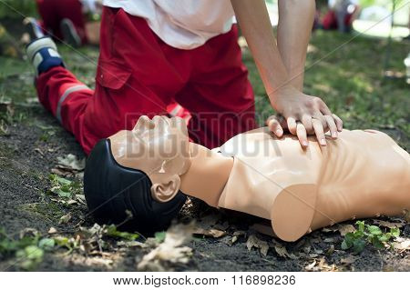 First aid training. Heart massage. CPR.