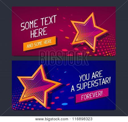 Vector Illustration Of Two Banners With Big Golden Star And Glowing Spots On Dark Red And Blue Backg