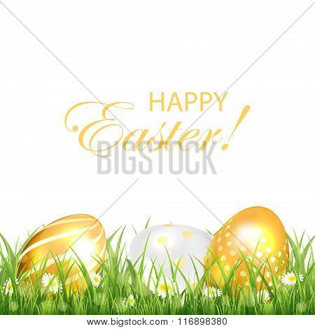 Three Golden Easter Eggs On White Background