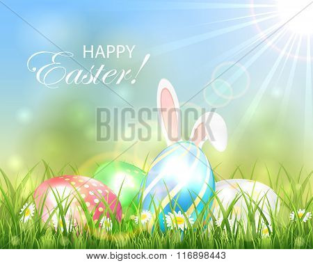 Easter Background With Multicolored Eggs And Rabbit