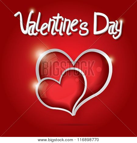 Red Hearts Valentine day background. Vector illustration. Love concept with glossy hearts and white text. Valentine day card.