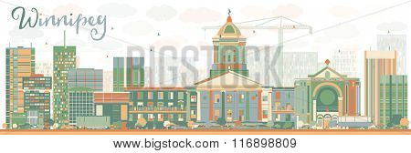 Abstract Winnipeg Skyline with Color Buildings. Vector Illustration. Business Travel and Tourism Concept with Modern Buildings. Image for Presentation Banner Placard and Web Site.