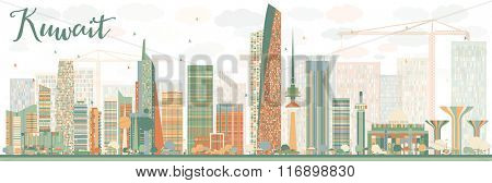 Abstract Kuwait City Skyline with Color Buildings. Vector Illustration. Business Travel and Tourism Concept with Modern Buildings. Image for Presentation Banner Placard and Web Site.