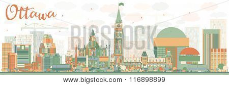 Abstract Ottawa Skyline with Color Buildings. Vector Illustration. Business travel and tourism concept with modern buildings. Image for presentation, banner, placard and web site.