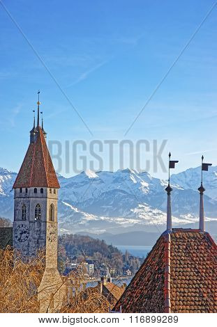 Panorama Of Thun City Church With Alps And Thunersee