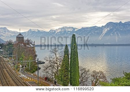 View to Chillon Castle from the bridge. It is an island castle on Lake Geneva (Lac Leman) in the Vaud between Montreux and Villeneuve. It is among the most visited castles in Switzerland and Europe