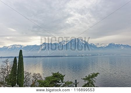 Lake Geneva View From Montreux In Switzerland In Winter