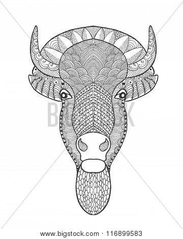 Zentangle stylized bull head