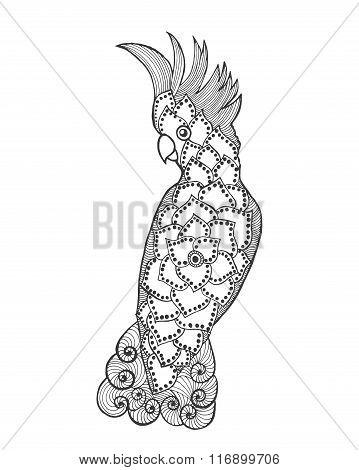 Zentangle stylized cockatoo.