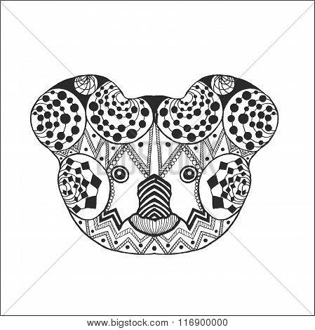 Zentangle stylized koala head