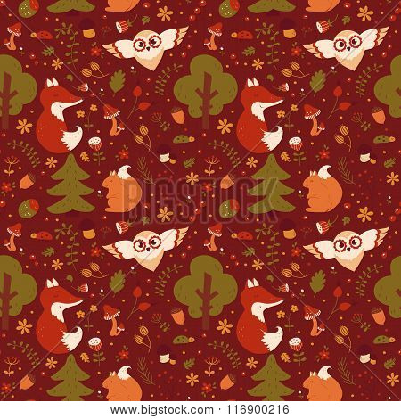 Forest Seamless Pattern. Vector Background.