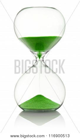 Hourglass With Green Sand Running Through