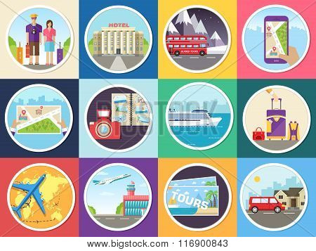 Set tourism with fast travel of the world concepts infographic. Vacation tour locations and items. T
