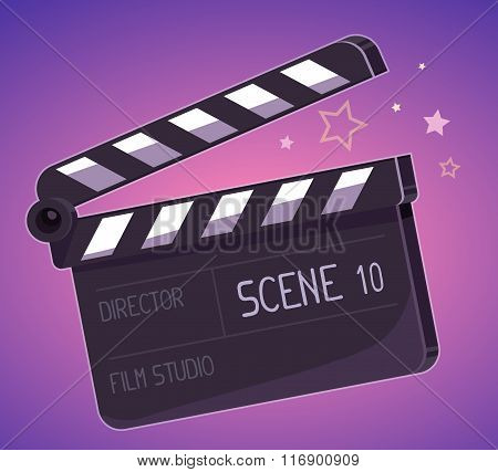Vector Illustration Of Big Clapper Board On Purple Background.