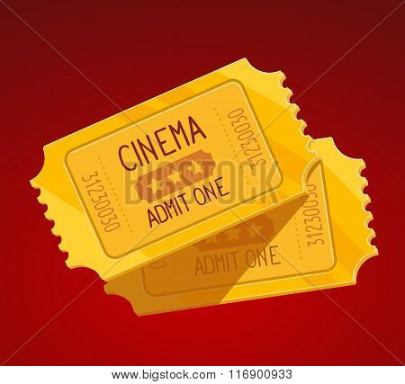 Vector Illustration Of Two Yellow Cinema Tickets On Red Background.