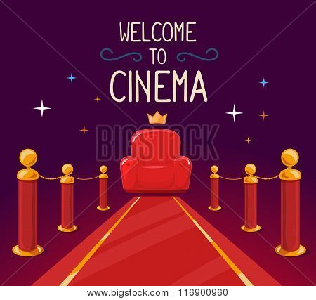 Vector Illustration Of Star Red Carpet And Cinema Armchair With Text On Purple Background.