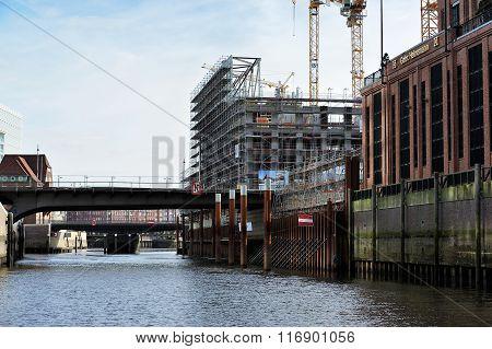 Modern Construction At Channel, Hamburg, Germany