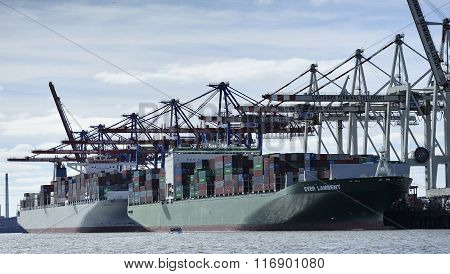 Container Ship At The Port Of Hamburg (hamburger Hafen), Germany