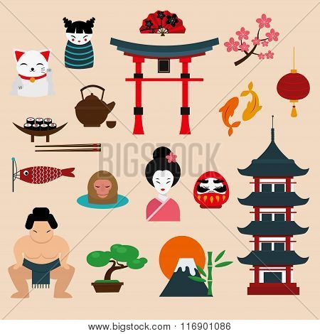 Japan landmark travel vector icons elements