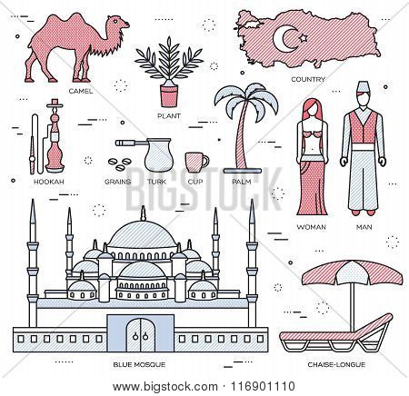 Country Turkey travel of goods, places and features in thin lines style design. Set of architecture,