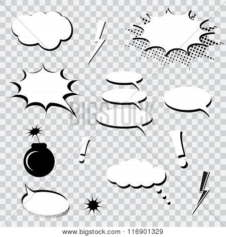 Set of comics speech bubbles