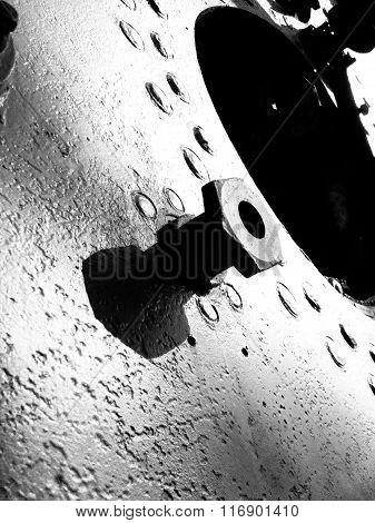 Iron Texture. Warships Parts. Metal Junkyard. Black and White Photography.