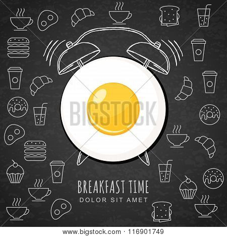 Fried Egg And Hand Drawn Watercolor Alarm Clock On Textured Black Board Background