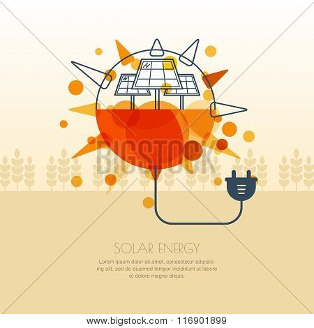 Vector Illustration Of Sun With Solar Battery And Wire Plug.