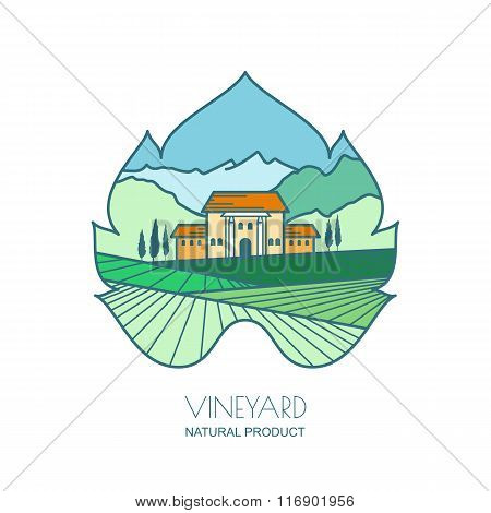 Green Landscape With Vineyard Fields, Villa, Mountains In Grapes Leaf Shape.