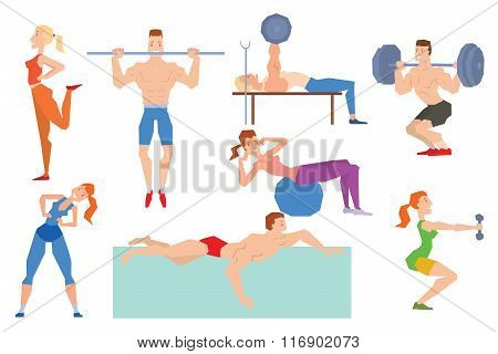 Cartoon sport gym people group exercise on fitness ball