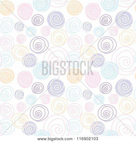 Circle Flora Line Draw Soft Pastel Pattern Seamless Design