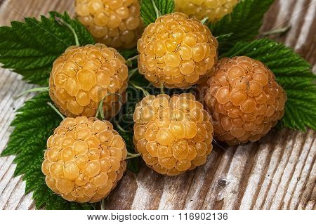 Yellow raspberry on a table