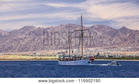 sailing ship in the Red Sea