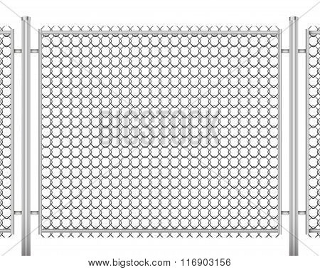 Fence Made Of Wire Mesh Vector Illustration Isolated On White Background