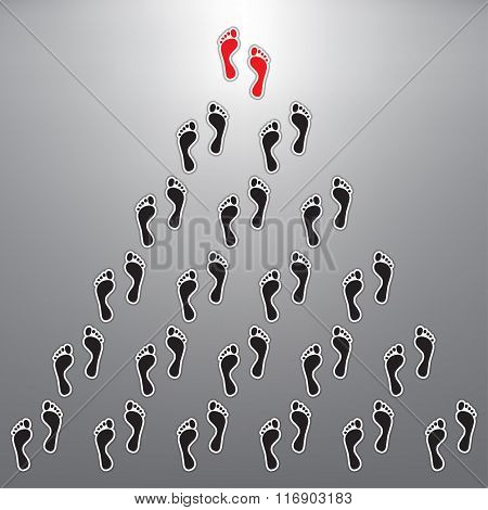 Footprints With Leadership Concept