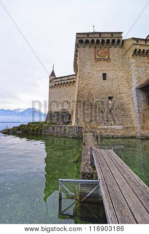 Clock Tower Of Chillon Castle On Lake Geneva Of Switzerland