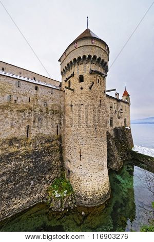 Defence Tower Of Chillon Castle On Lake Geneva In Switzerland