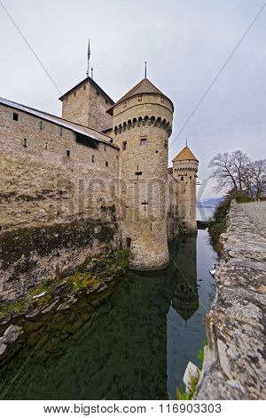 Defence Towers Of Chillon Castle On Lake Geneva In Switzerland
