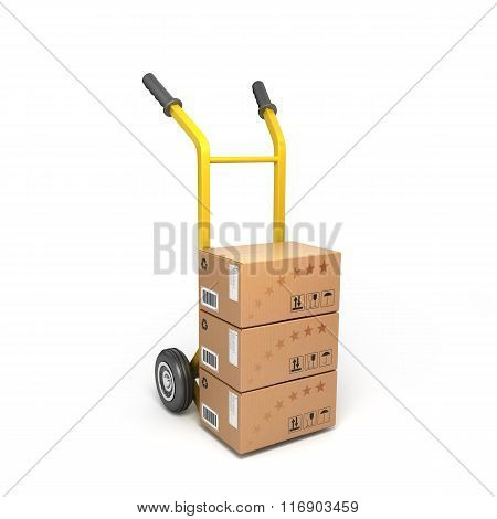 Concept Of Fast Delivery Boxes On A Yellow Trolley