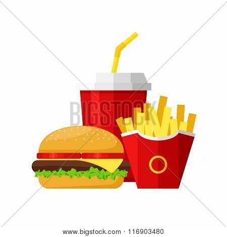 Lunch with Hamburger, French Fries and Soda isolated on white background. Group of Fast Food product