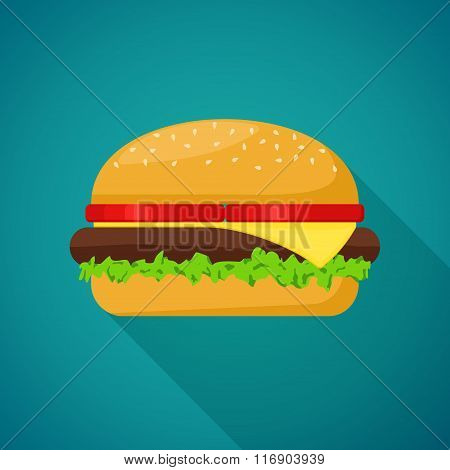 Hamburger with meat, lettuce, cheese and tomato on blue background with shadow. Fast Food Vector Ill