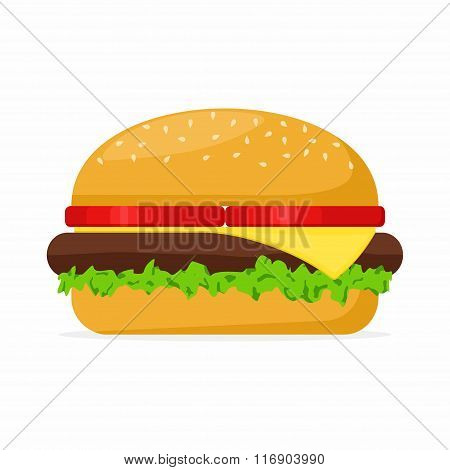 Hamburger with meat, lettuce, cheese and tomato on white background. Fast Food Vector Illustration
