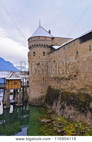 Front Towers Of Chillon Castle On Lake Geneva In Switzerland