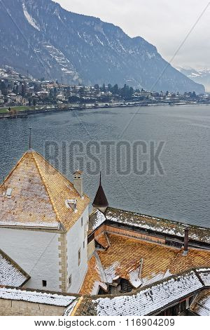 VEYTAUX SWITZERLAND - JANUARY 2 2015: View to Montreux from Towers of Chillon Castle. It is an island castle on Lake Geneva (Lac Leman) in the Vaud between Montreux and Villeneuve.
