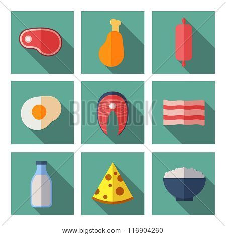 Meat and dairy products containing animal protein. Flat vector icons set