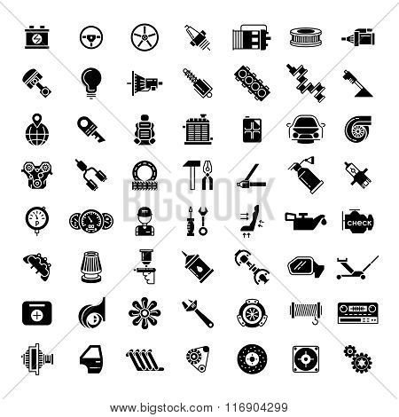 Black car parts icons