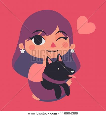 Cute Girl Winking And Holding A Dog