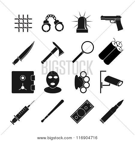 Crime vector icons set