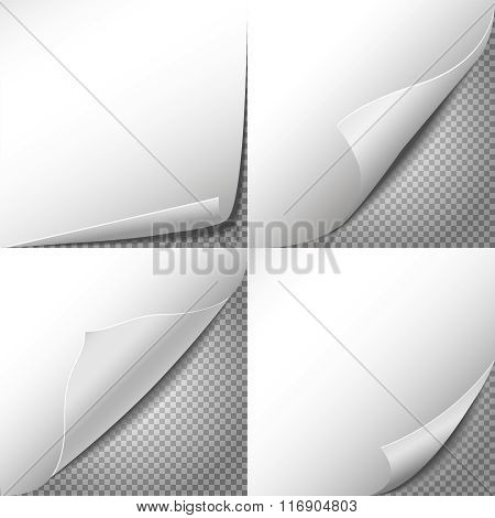 Curl paper corners vector set with checkered transparent background